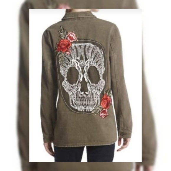 Boom Boom Jeans Jackets & Blazers - BoomBoom Olive Green Military Skull/Rose Jacket XL